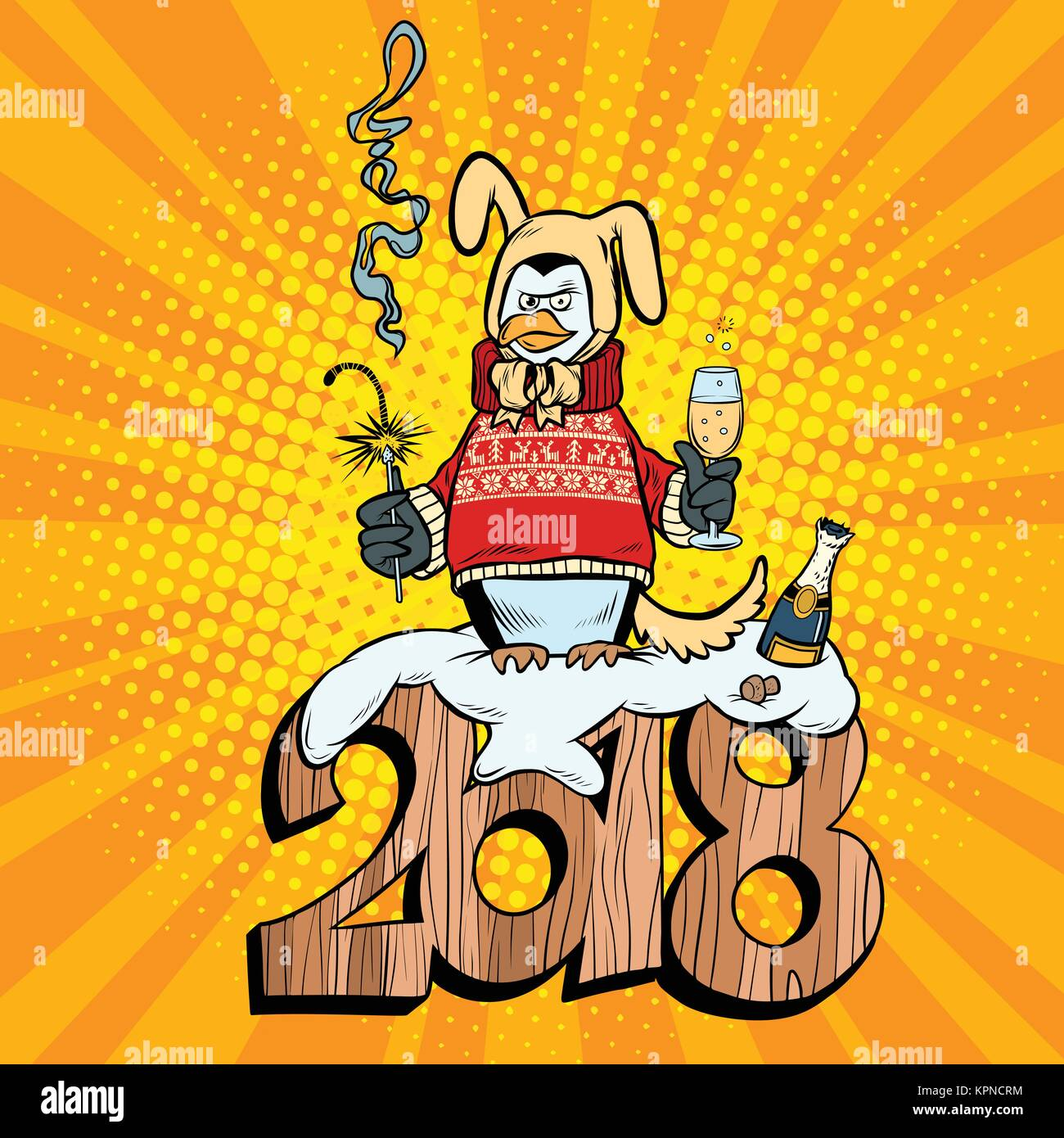 2018 new year, penguin suit yellow earth dog. Champagne and sparklers. Comic book cartoon pop art retro vector illustration - Stock Vector