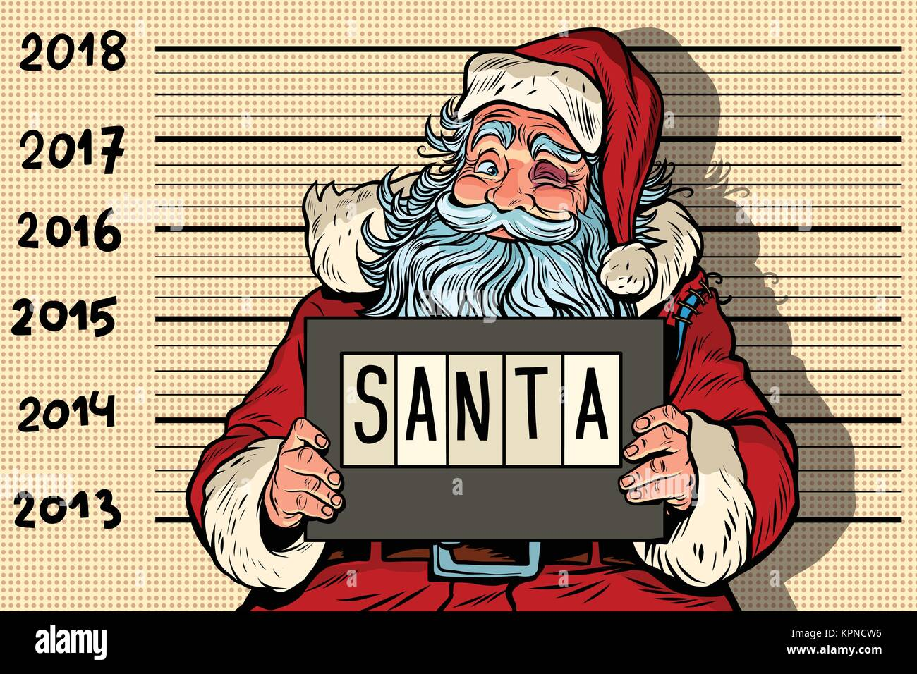 2018 new year photo funny santa claus under arrest criminal party comic book