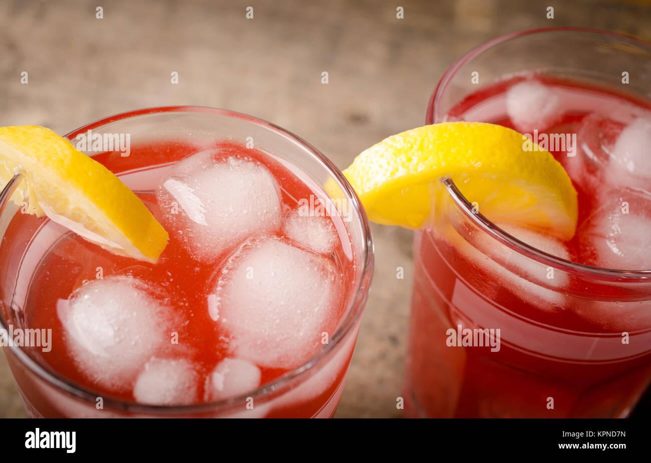 Cold red ice tea - Stock Image