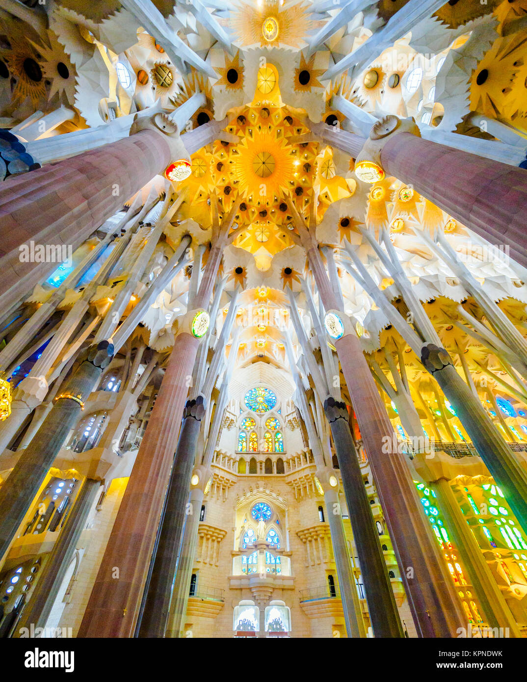 The Basilica i Temple Expiatori de la Sagrada Familia designed by Spanish architect Antoni Gaudi -  Barcelona, Spain - Stock Image