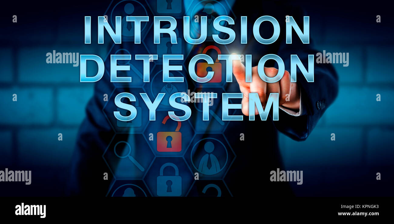 Manager Touching INTRUSION DETECTION SYSTEM - Stock Image