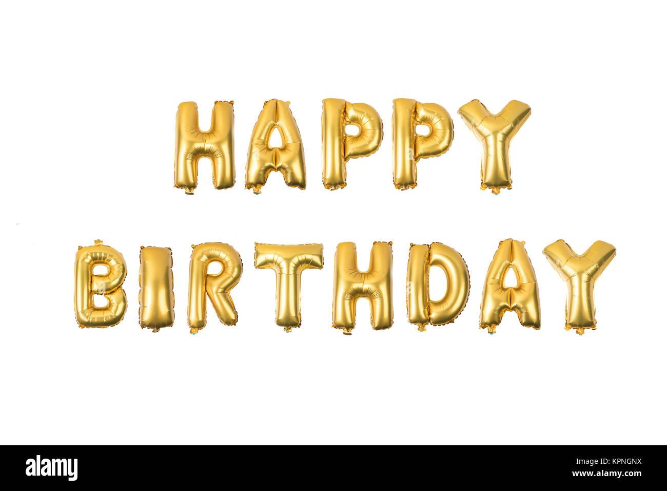 happy birthday English alphabet   from yellow (Golden) balloons on a white background . Stock Photo