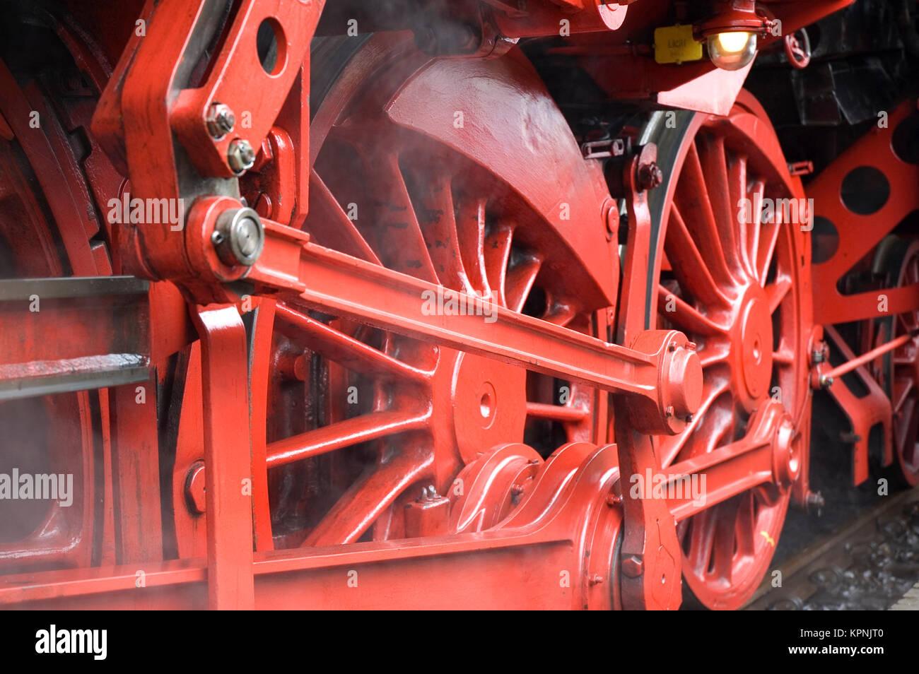Closeup of train wheels -3 Stock Photo
