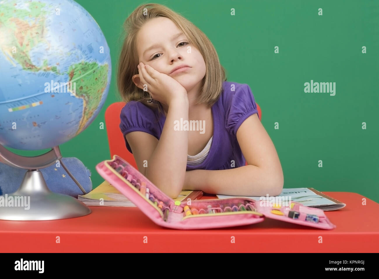 Model release , Lernfaules Maedchen, Symbolbild - girl doesn't want to learn Stock Photo