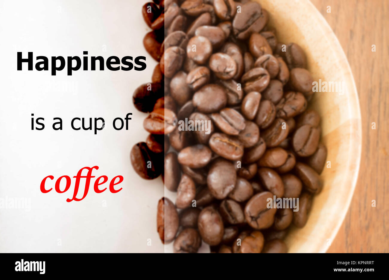 happiness is a cup of coffee quote on blur coffee bean background