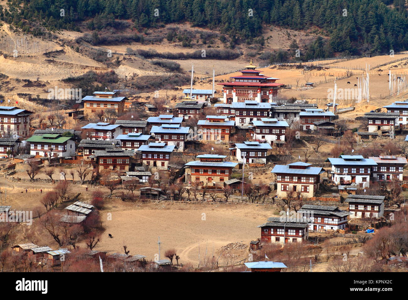 colorful dzong in beautiful bhutanese village - Stock Image