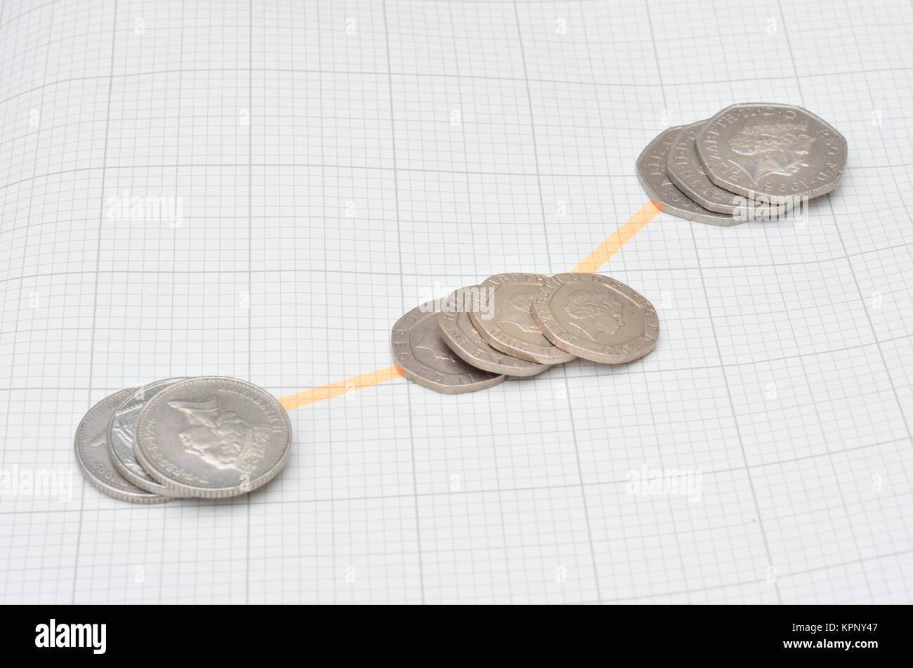 spread of coins in line - Stock Image