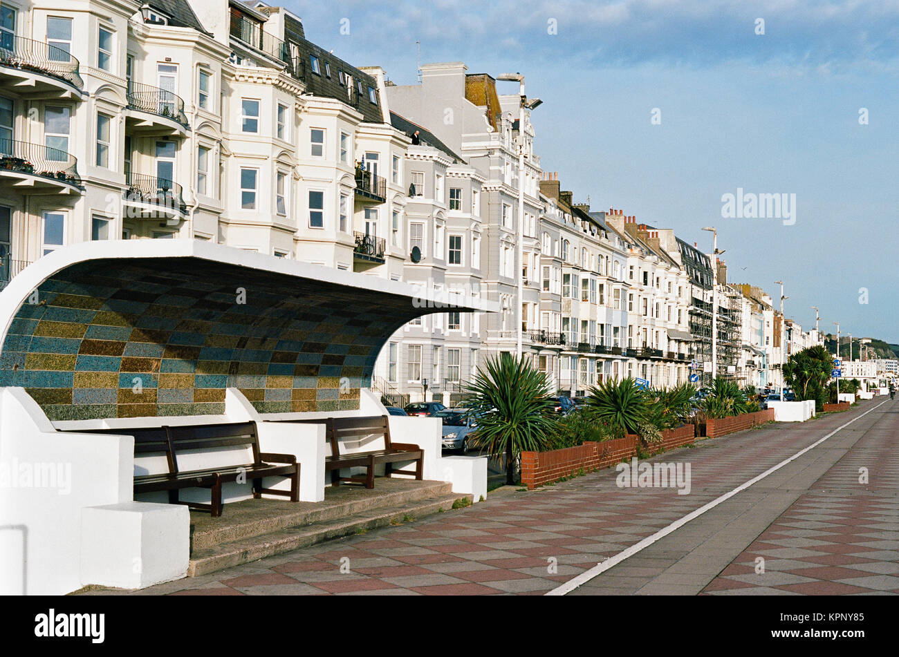 The promenade on Hastings Seafront, on the East Sussex coast, Southern Britain, looking east - Stock Image