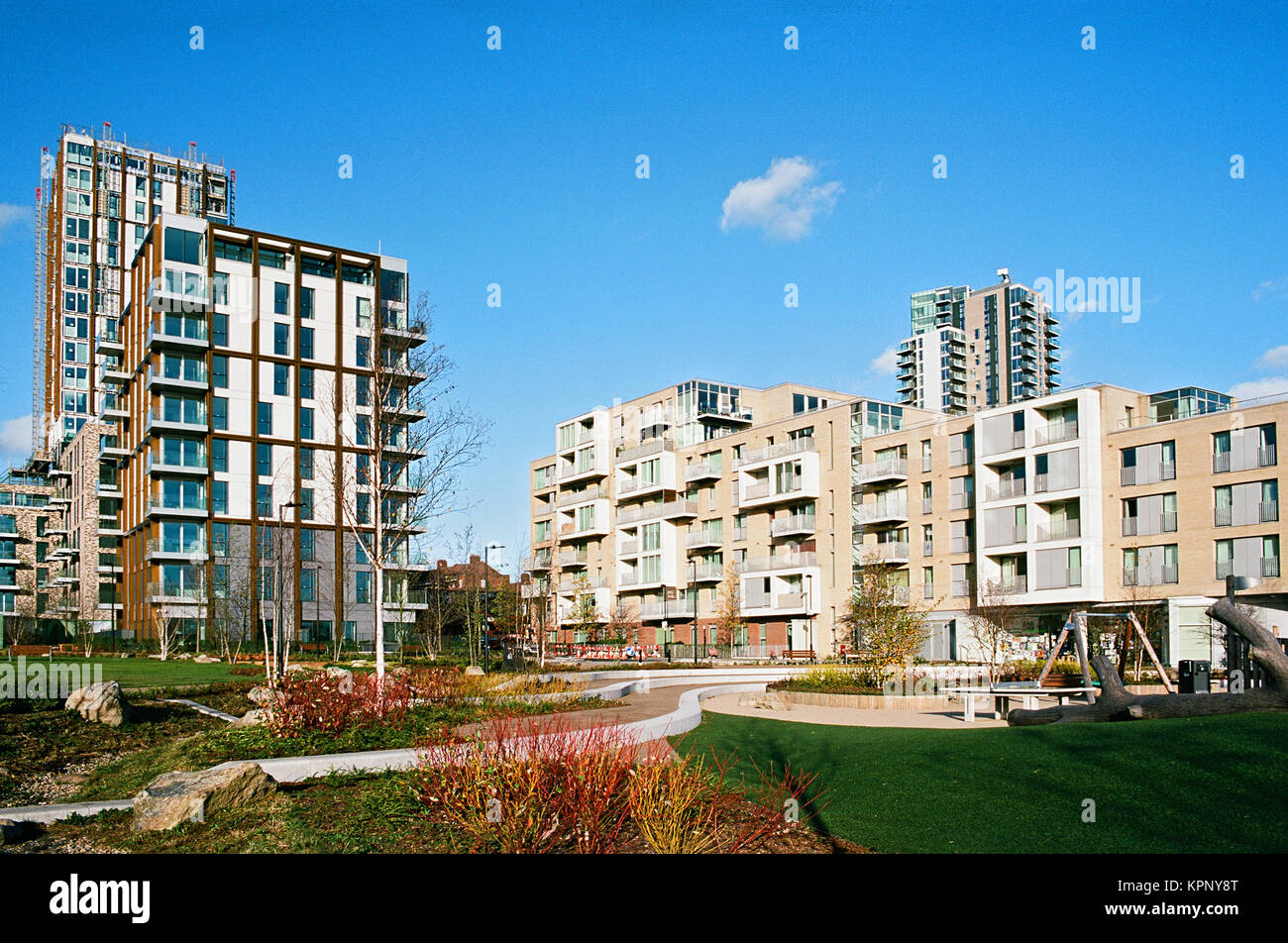Brand new apartment buildings at Spring Park, Woodberry Down, near Finsbury Park, North London UK - Stock Image