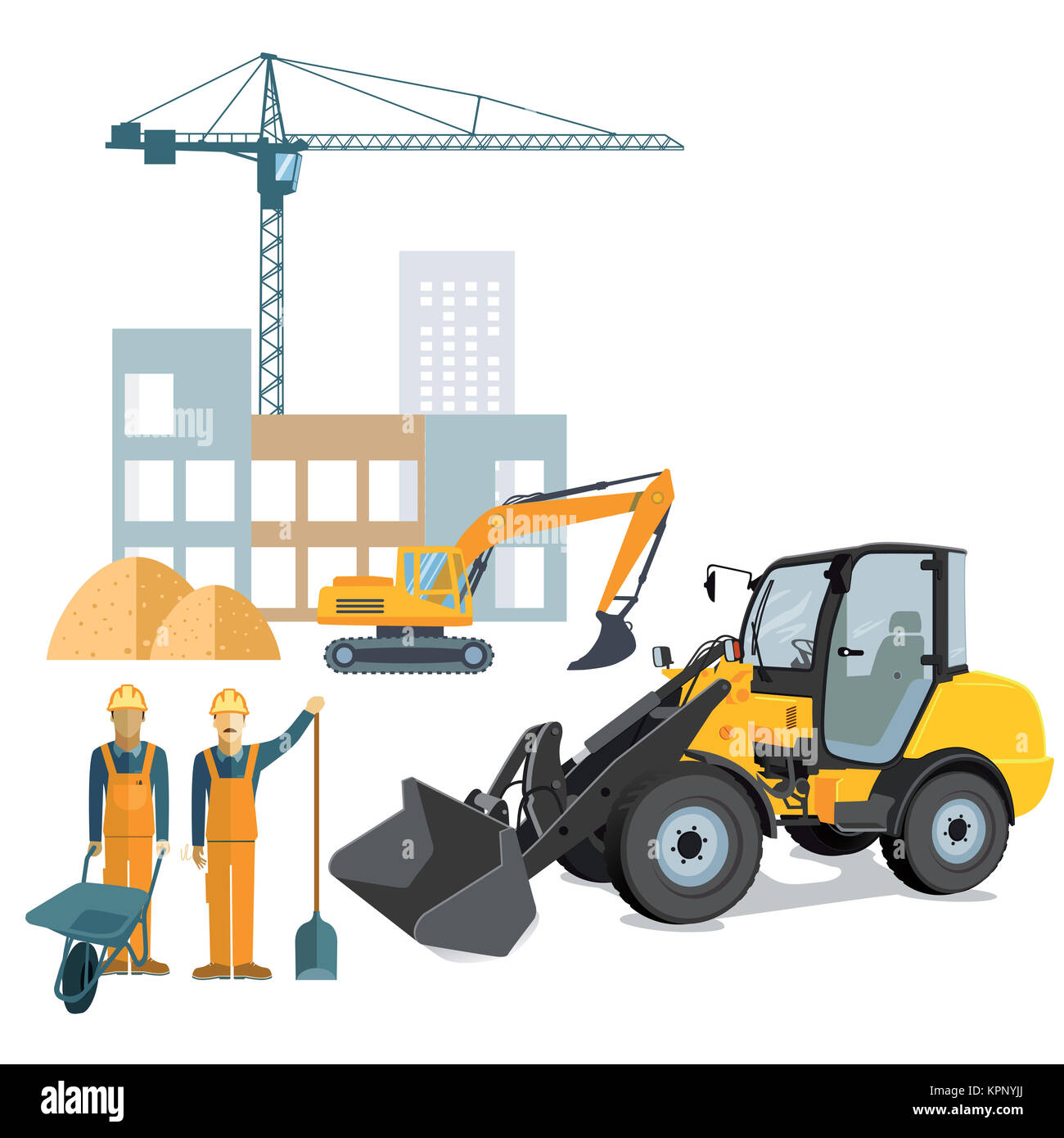 construction site with wheel loader and crane - Stock Image