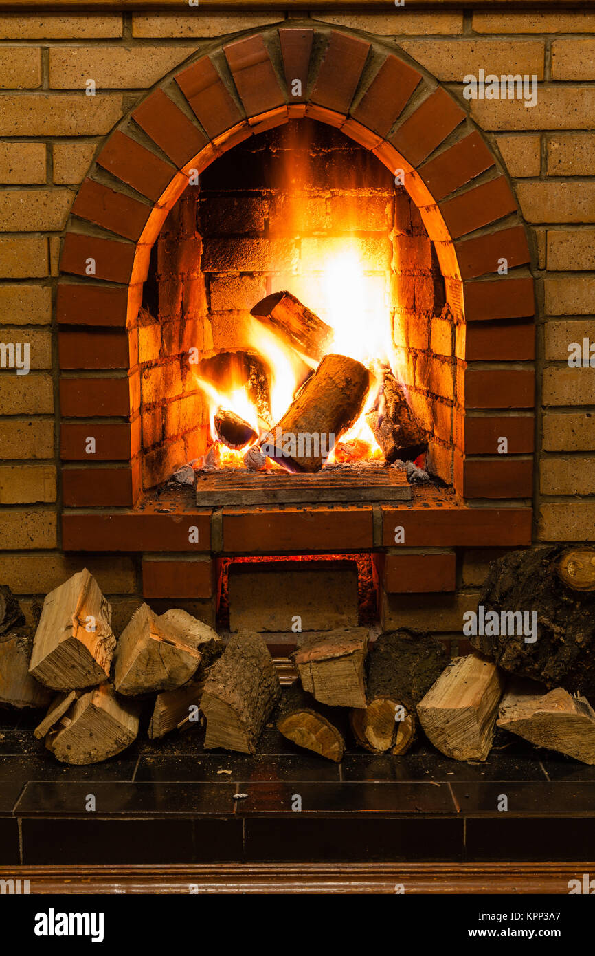 Wood Stack And Fire And Interior Stock Photos Wood Stack And Fire