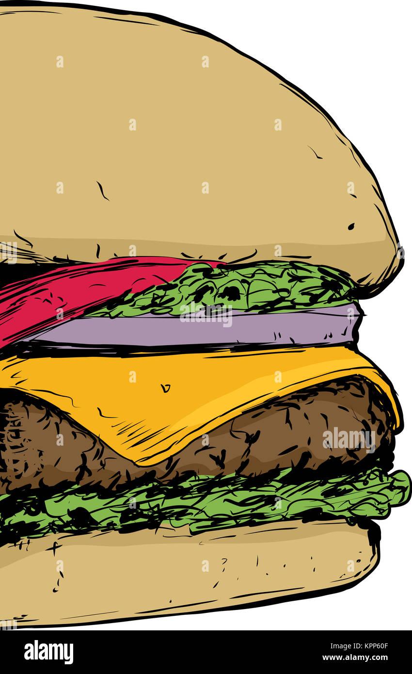 Close up on Cheeseburger - Stock Image