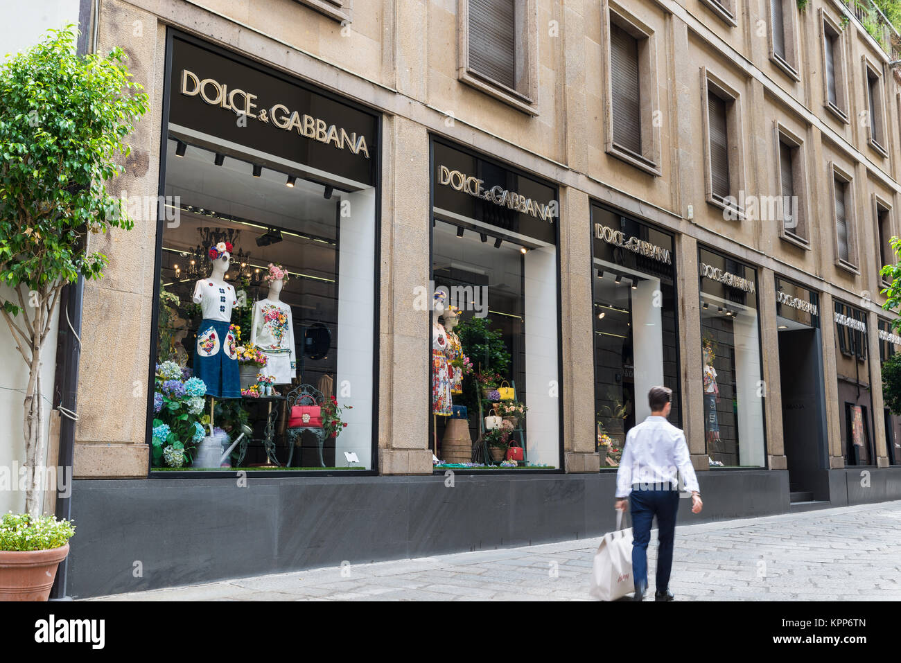 Milan, Italy - August 10, 2017: Dolce & Gabbana shop in a street of the Milan fashion district known as the Quadrilatero Stock Photo