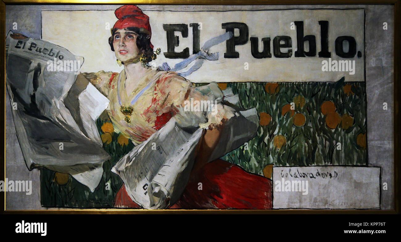 Sketch for the poster for El Pueblo newspaper by Joaquín Sorolla y Bastida (1863 – 1923) Spanish painter - Stock Image