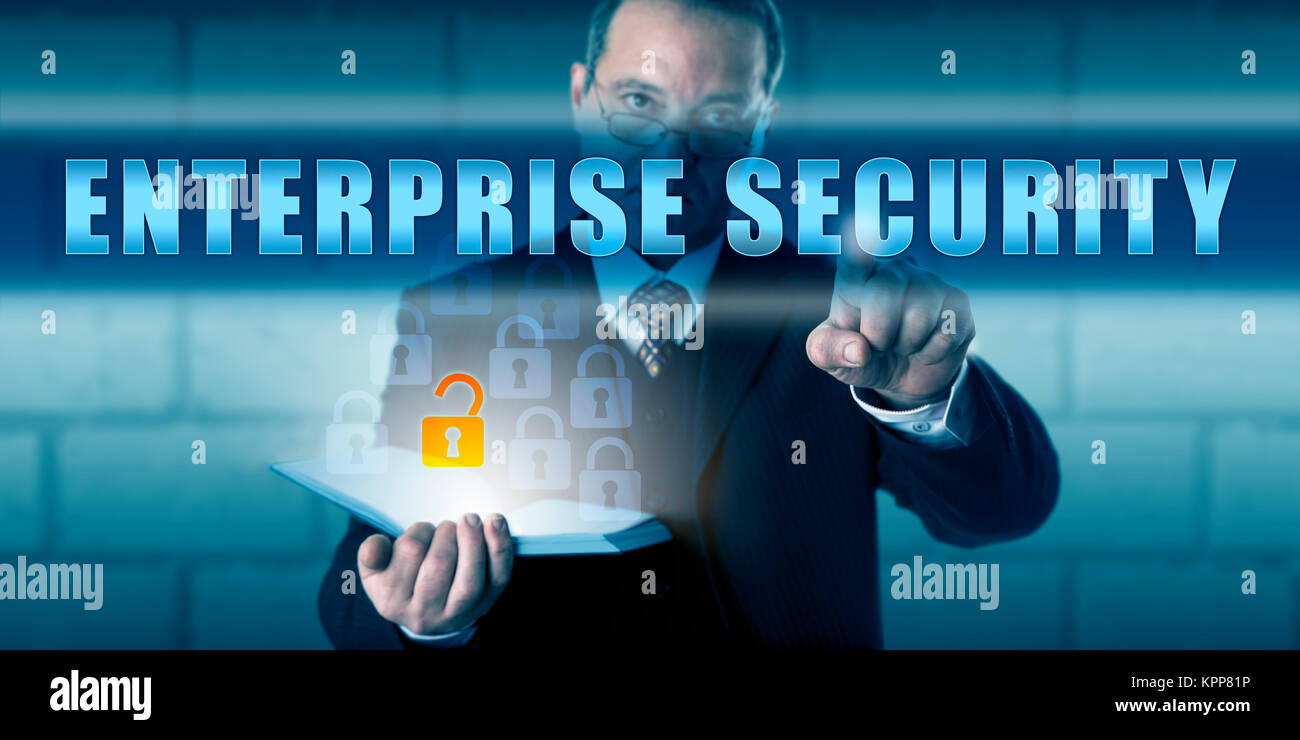 Business Director Pressing ENTERPRISE SECURITY - Stock Image