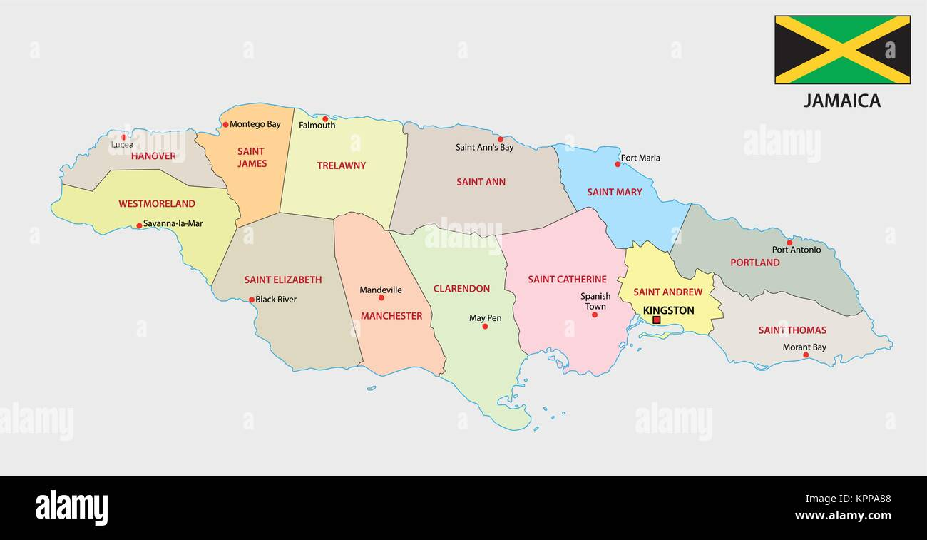 jamaica administrative and political vector map with flag Stock ...