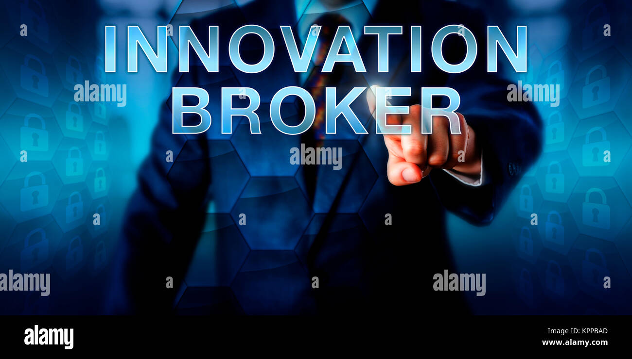 Corporate Client Pushing INNOVATION BROKER - Stock Image