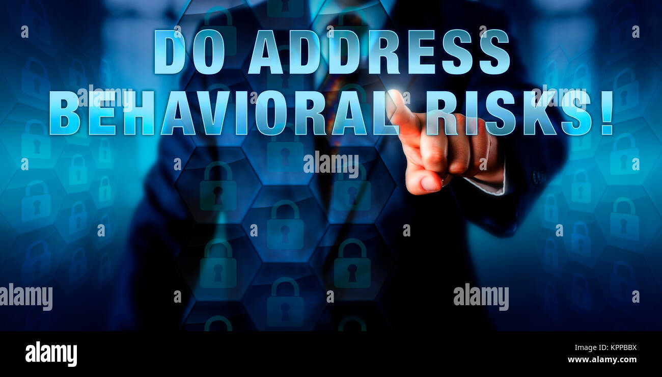 Manager Touching DO ADDRESS BEHAVIORAL RISKS! - Stock Image