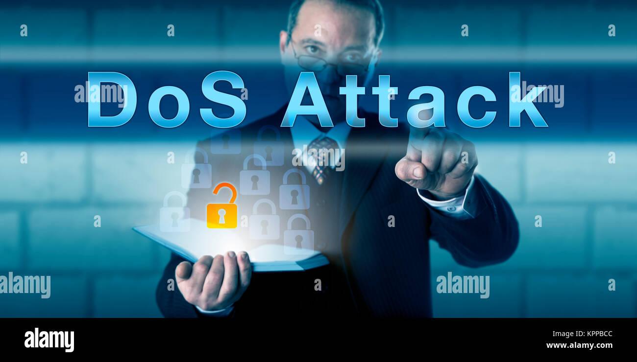 Legitimate Corporate User Pressing DoS Attack - Stock Image