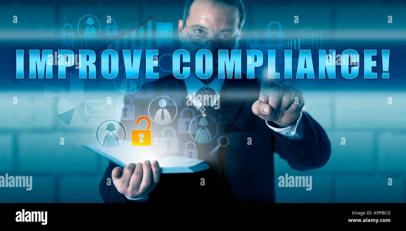 Corporate Director Touching IMPROVE COMPLIANCE! Stock Photo