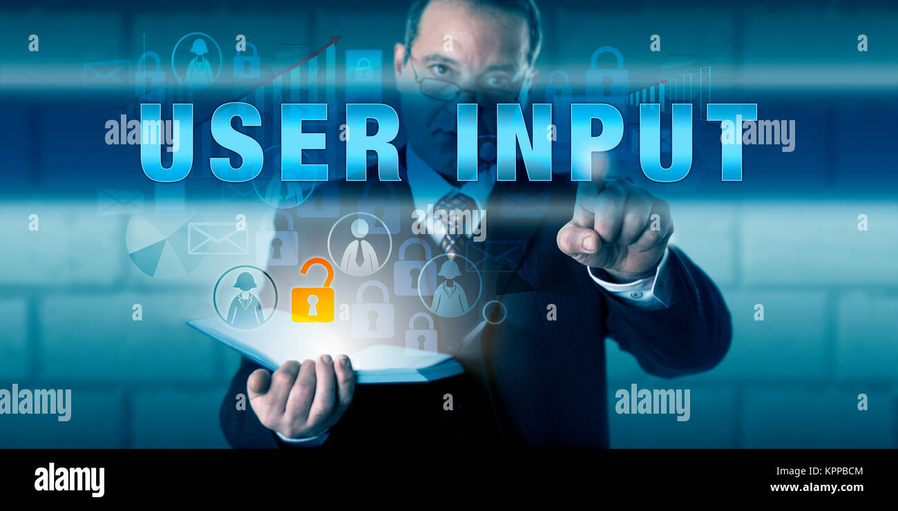 Corporate User Pressing USER INPUT - Stock Image