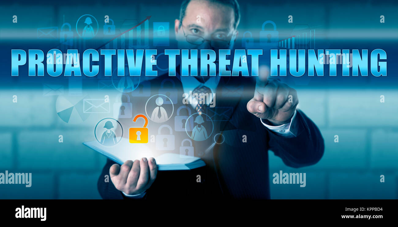 Director Touching PROACTIVE THREAT HUNTING - Stock Image
