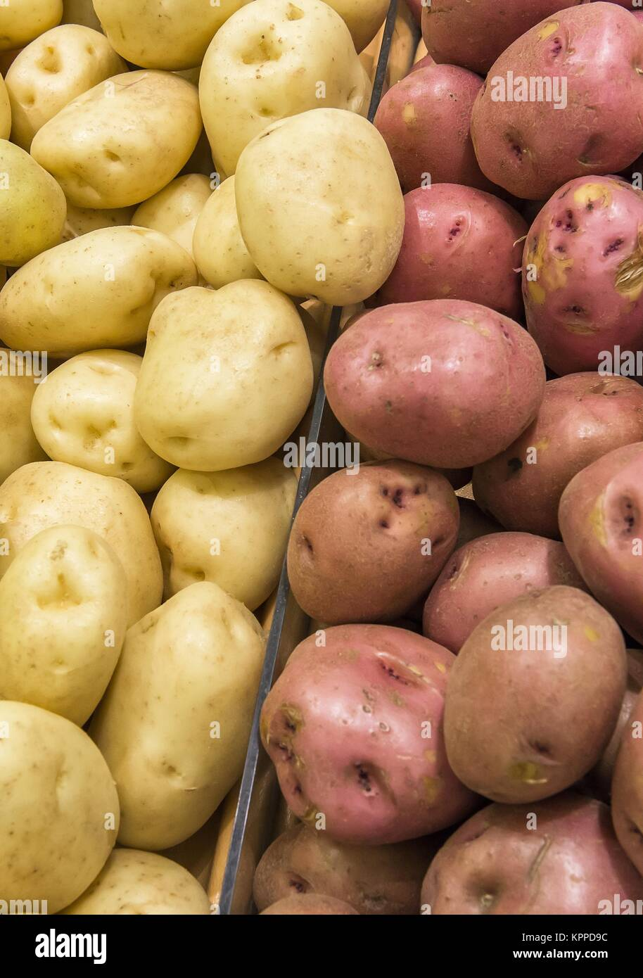 harvested potato tubers different varieties from market shelves - Stock Image