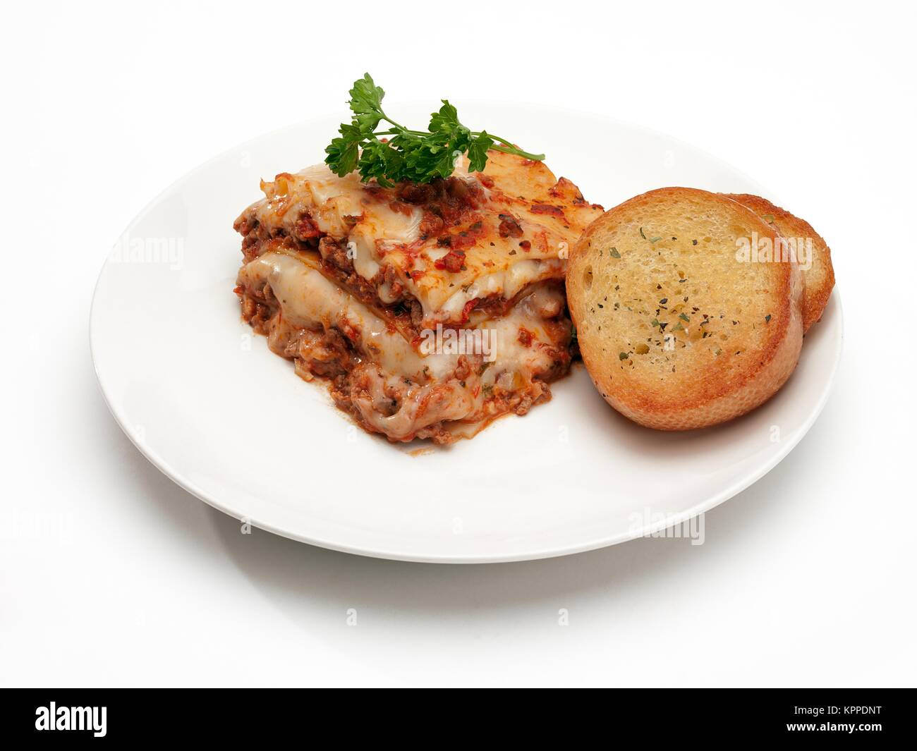 lasagna with garlic bread Stock Photo