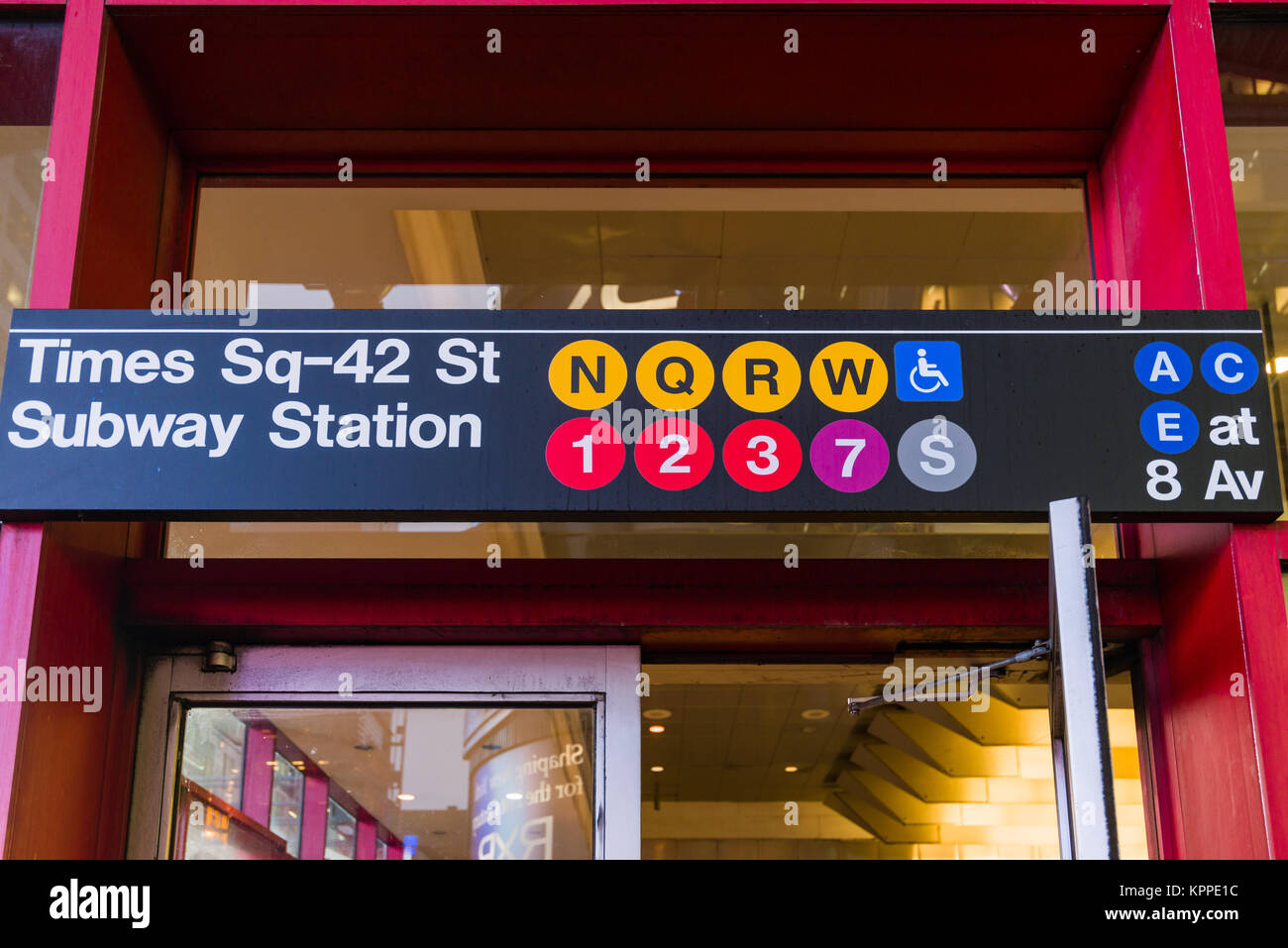 View of Times Square 42nd Street Subway entrance exterior signage, New York, USA - Stock Image