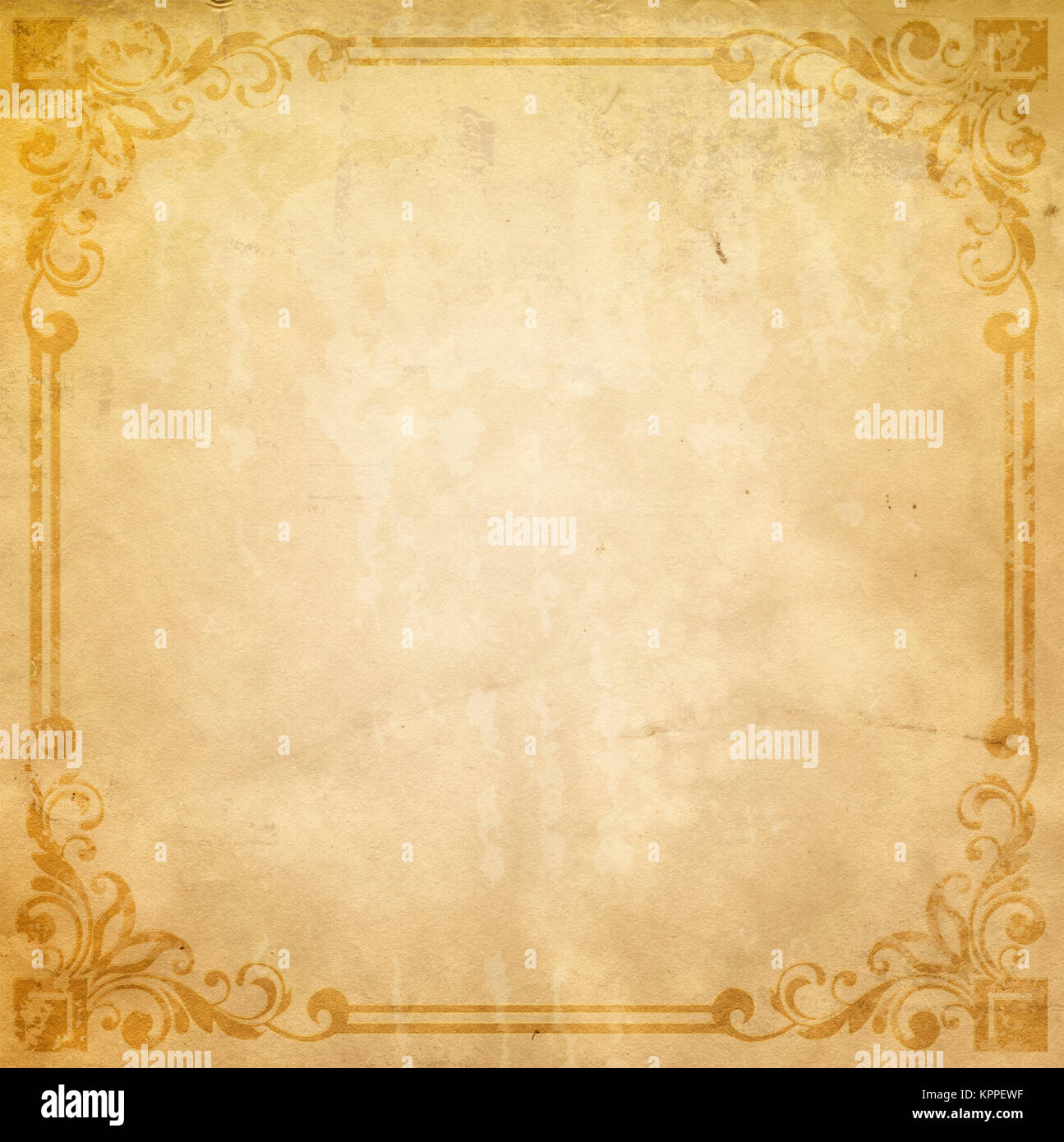 Old Dirty Paper Background With Decorative Vintage Border Texture