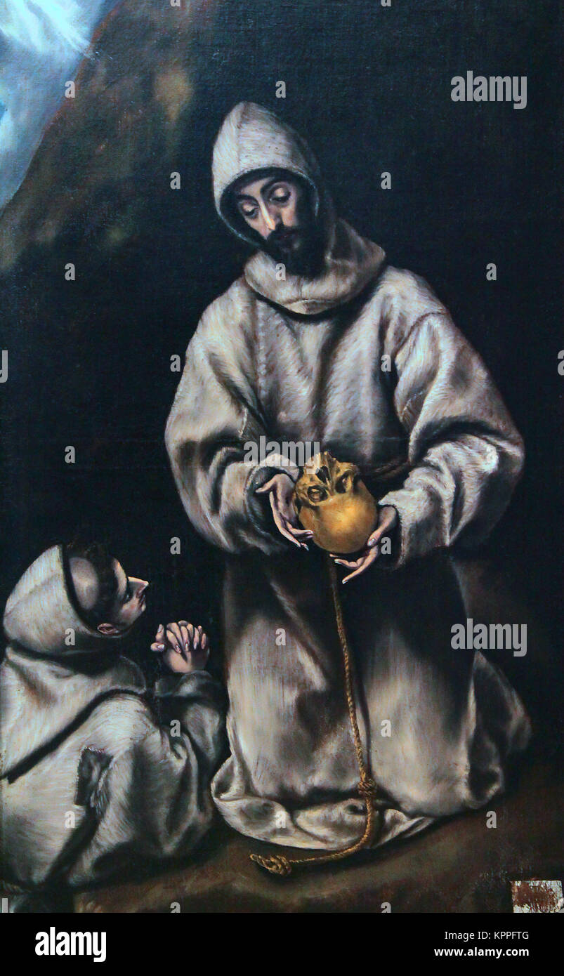 El Greco.Saint Francis and friar Leon pondering on the death by El Greco. Doménikos Theotokópoulos  'The - Stock Image