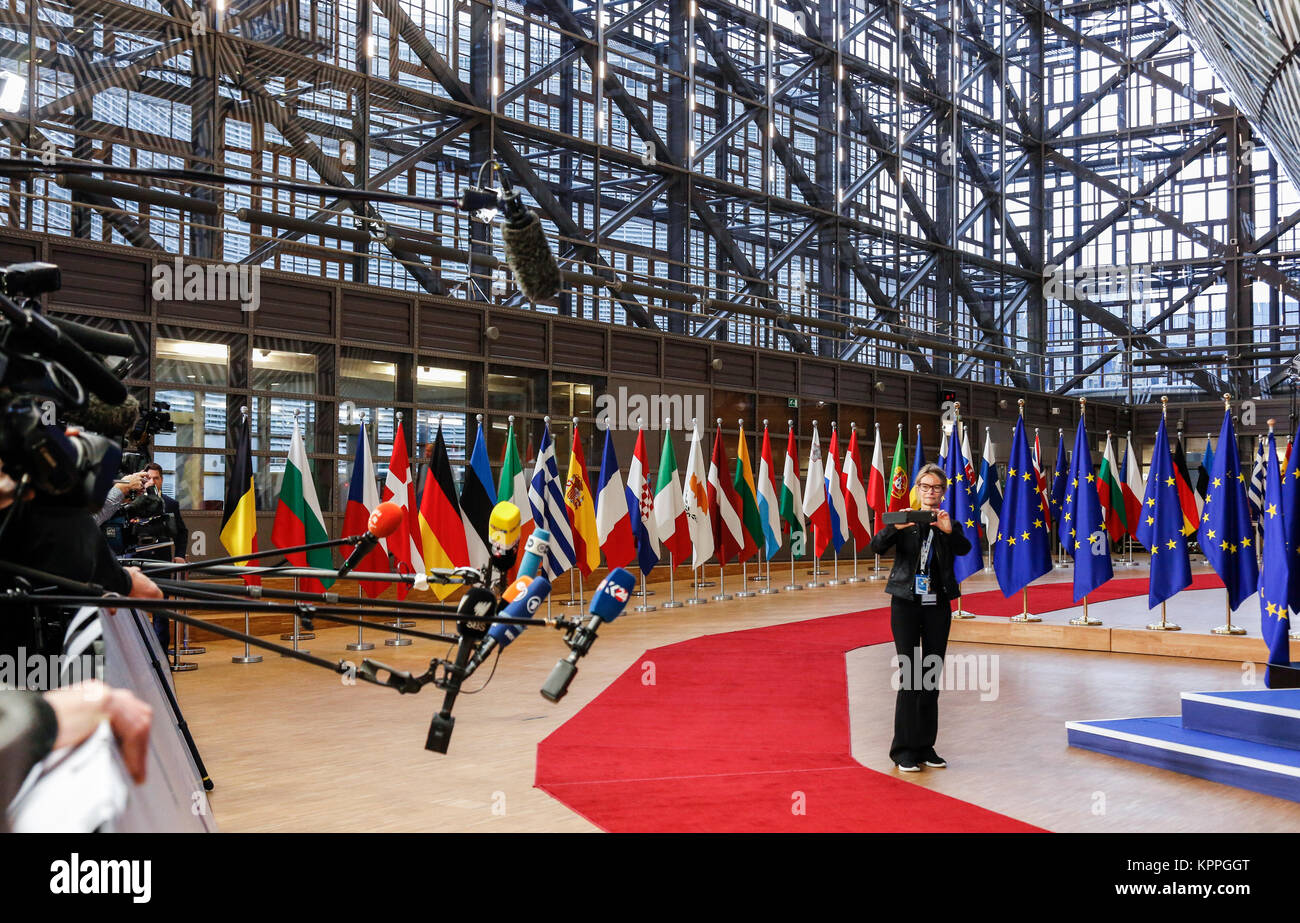 Brussels, Belgium, December 14, 2017: Red carpet in Europa  building in EU during European Council summit. - Stock Image