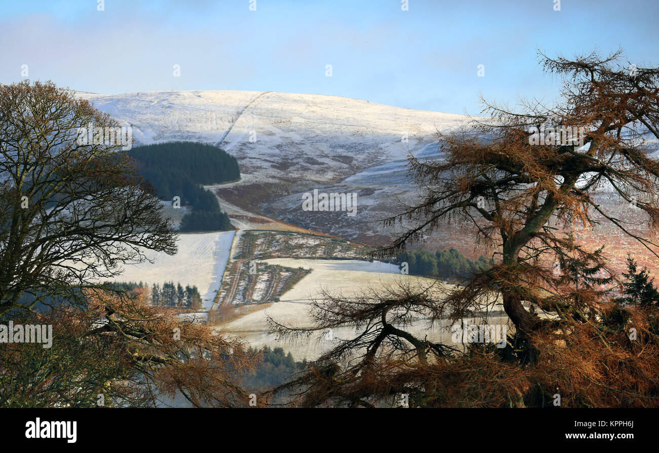 The scene in the Scottish Borders, as fresh warnings for ice have been issued for parts of Scotland as the cold - Stock Image