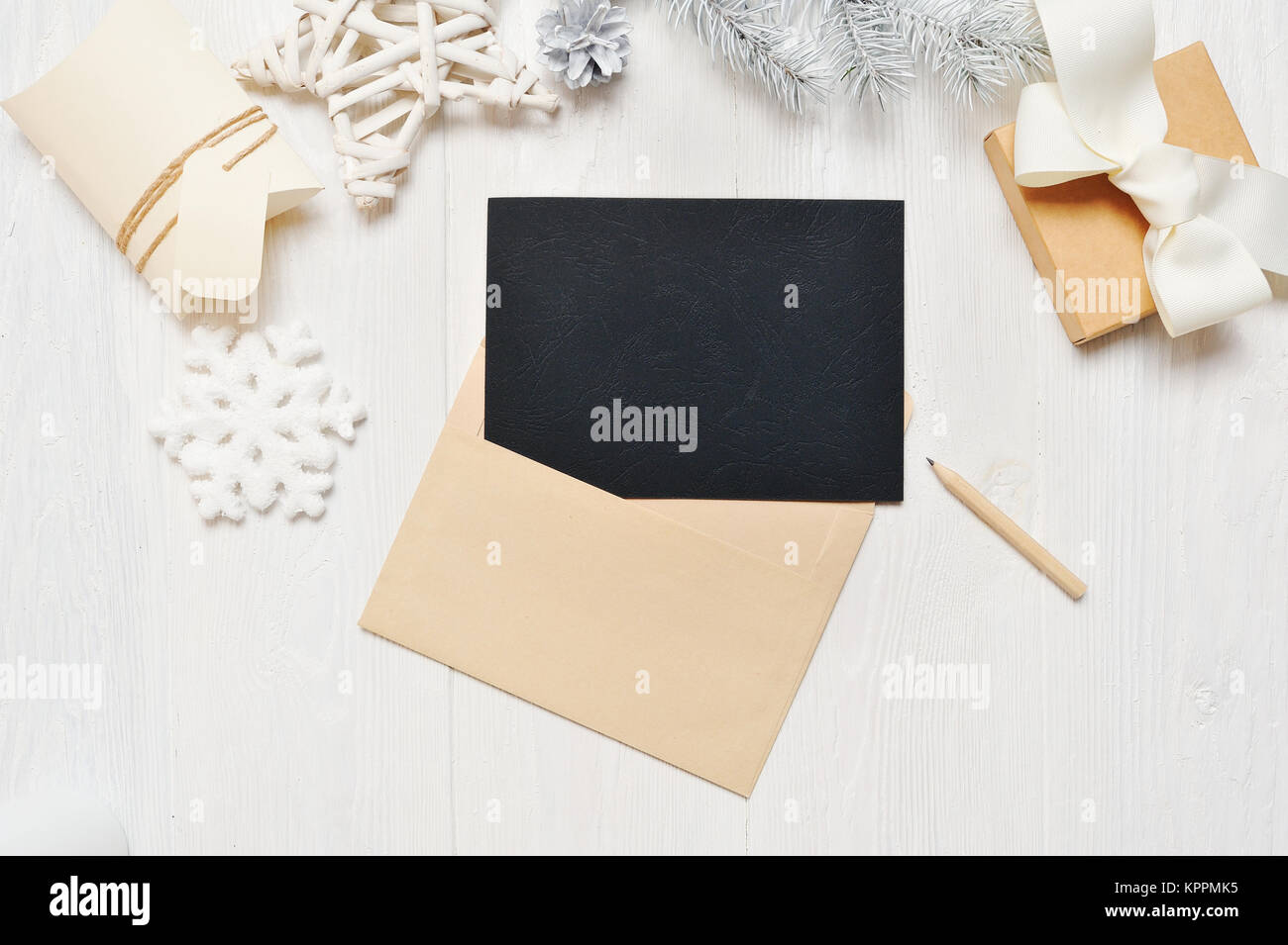 Mockup Christmas Black Greeting Card Letter In Envelope And Pencil