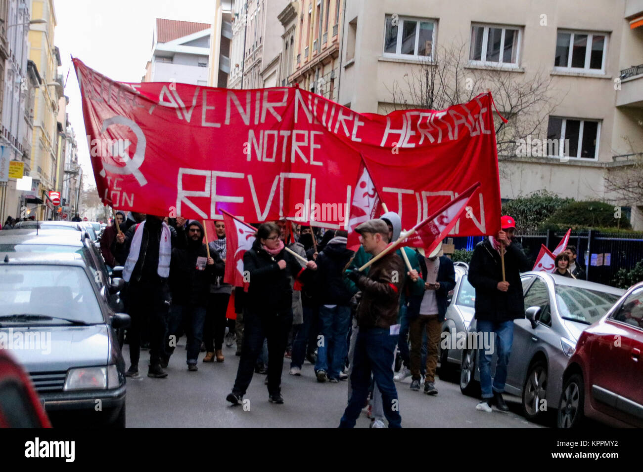 Clashes occur between riot police officers and young Communist militants Lyon, France - Stock Image