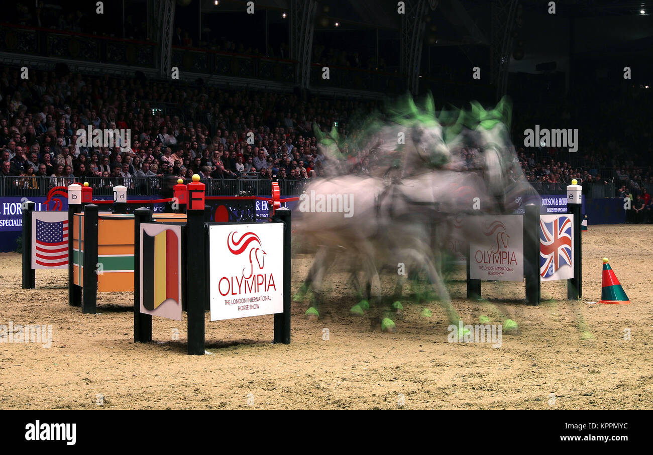 Britain's Daniel Naprous competes in the FEI World Cup driving leg during day five of the London International - Stock Image