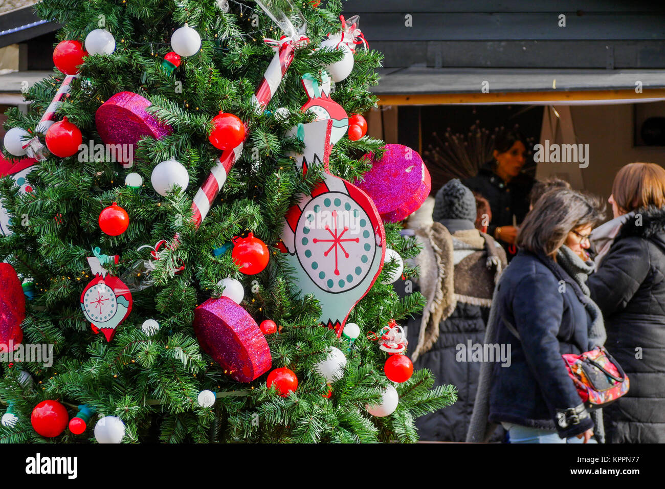 Christmas decorations at Carnot square, Lyon, France - Stock Image