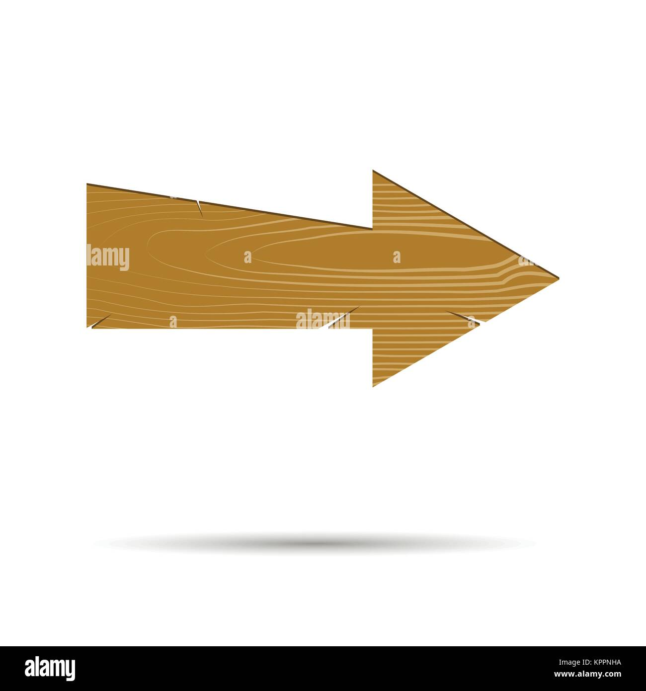 Vintage Arrow Wood Isolated Wooden Timber Pointer Direction Signboard Vector Illustration