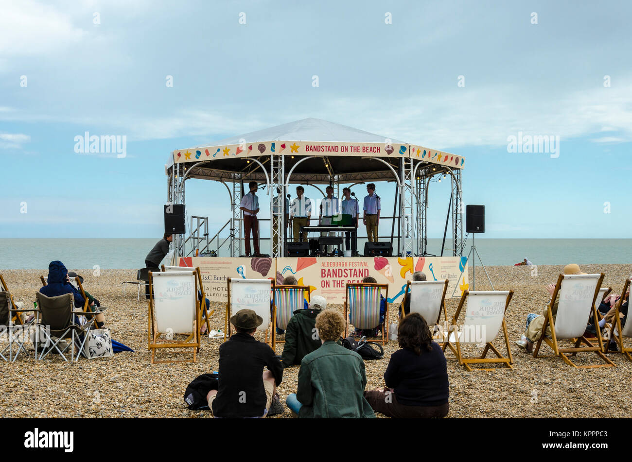 Aldeburgh Festival Bandstand on the Beach, Aldeburgh English coastal town in Suffolk, UK - Stock Image