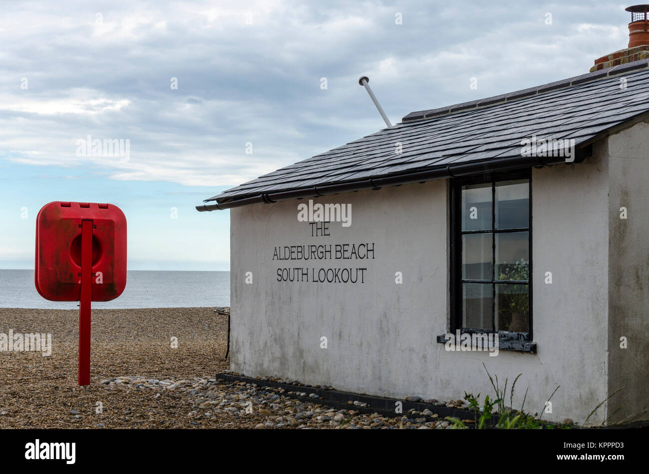The Aldeburgh Beach South Lookout, Aldeburgh English coastal town in Suffolk, UK - Stock Image