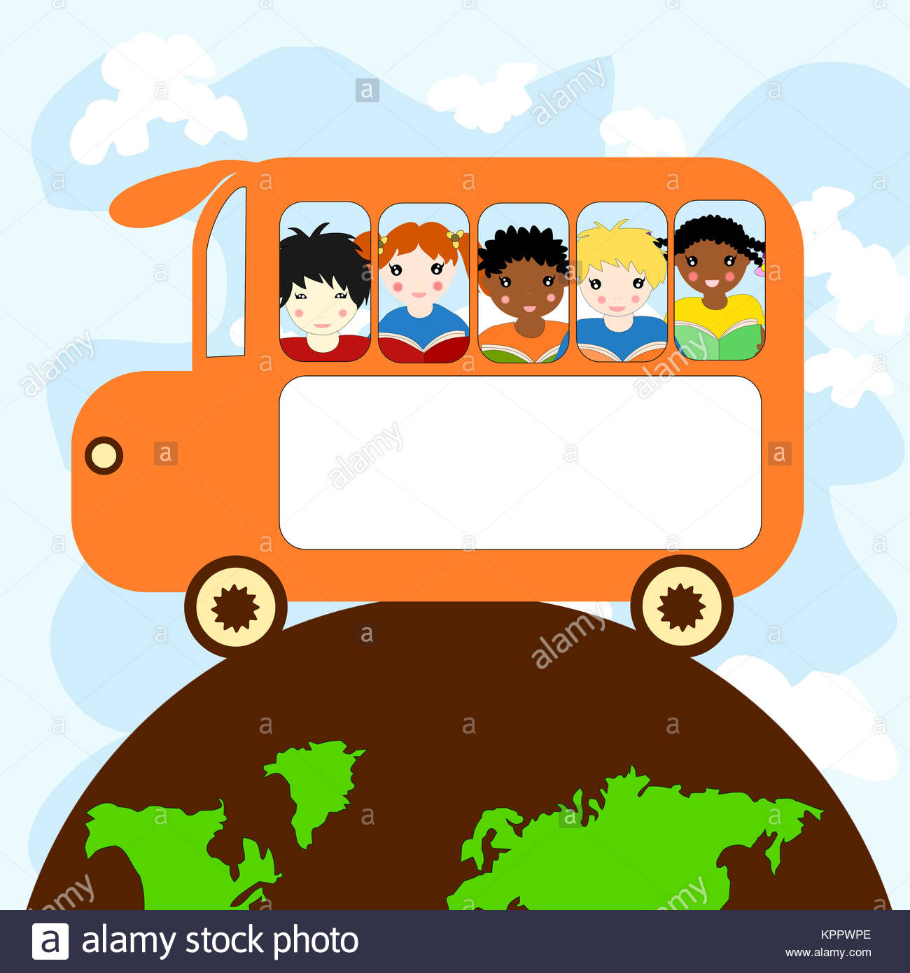 Children of different races in a school bus traveling on the planet - Stock Image