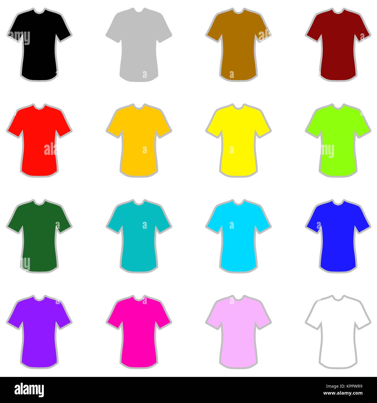 Isolierte farbige Shirts in 16 verschiedenen Farben - Stock Image