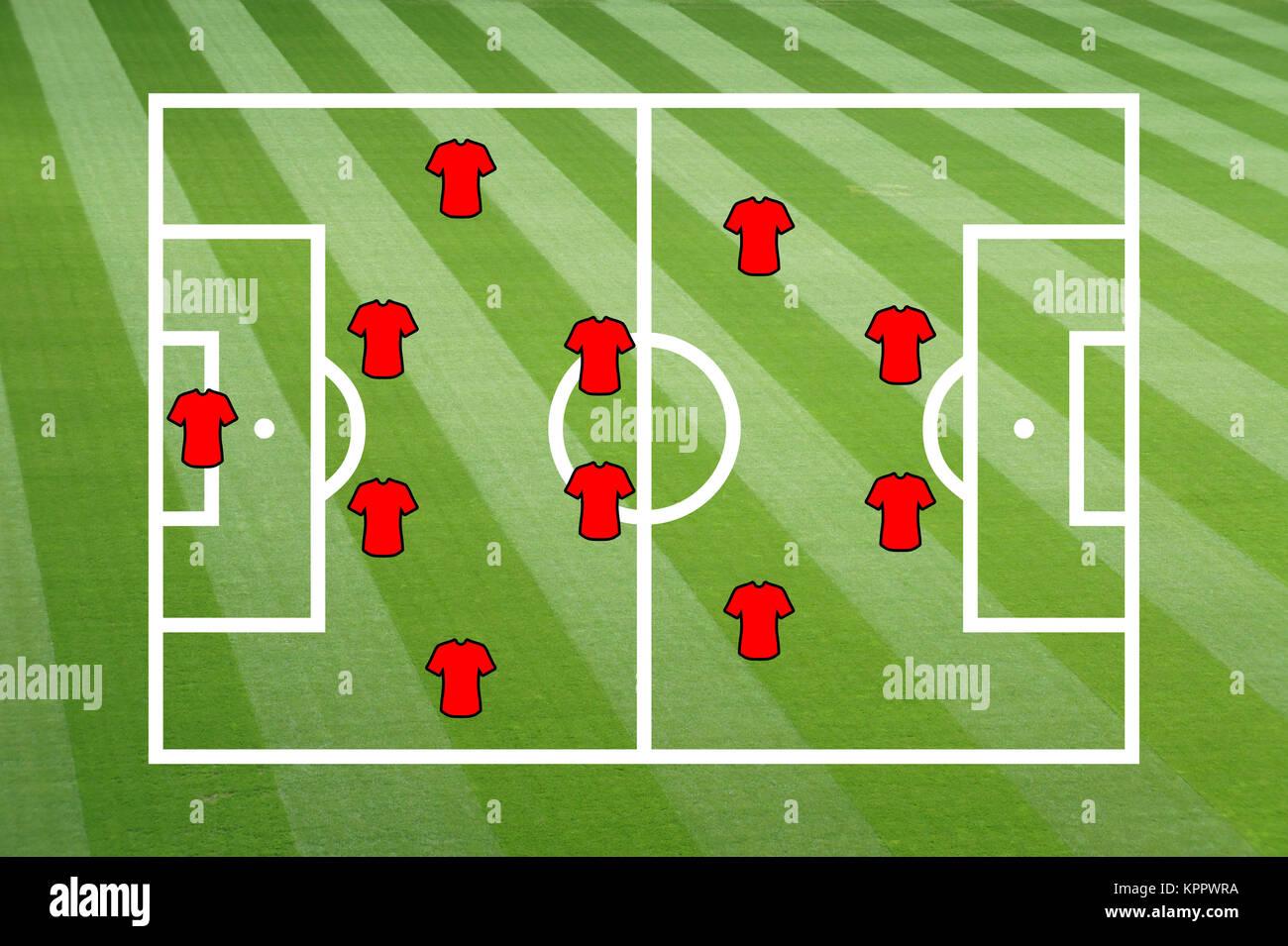 Fußballfeld mit taktischer Aufstellung - Stock Image