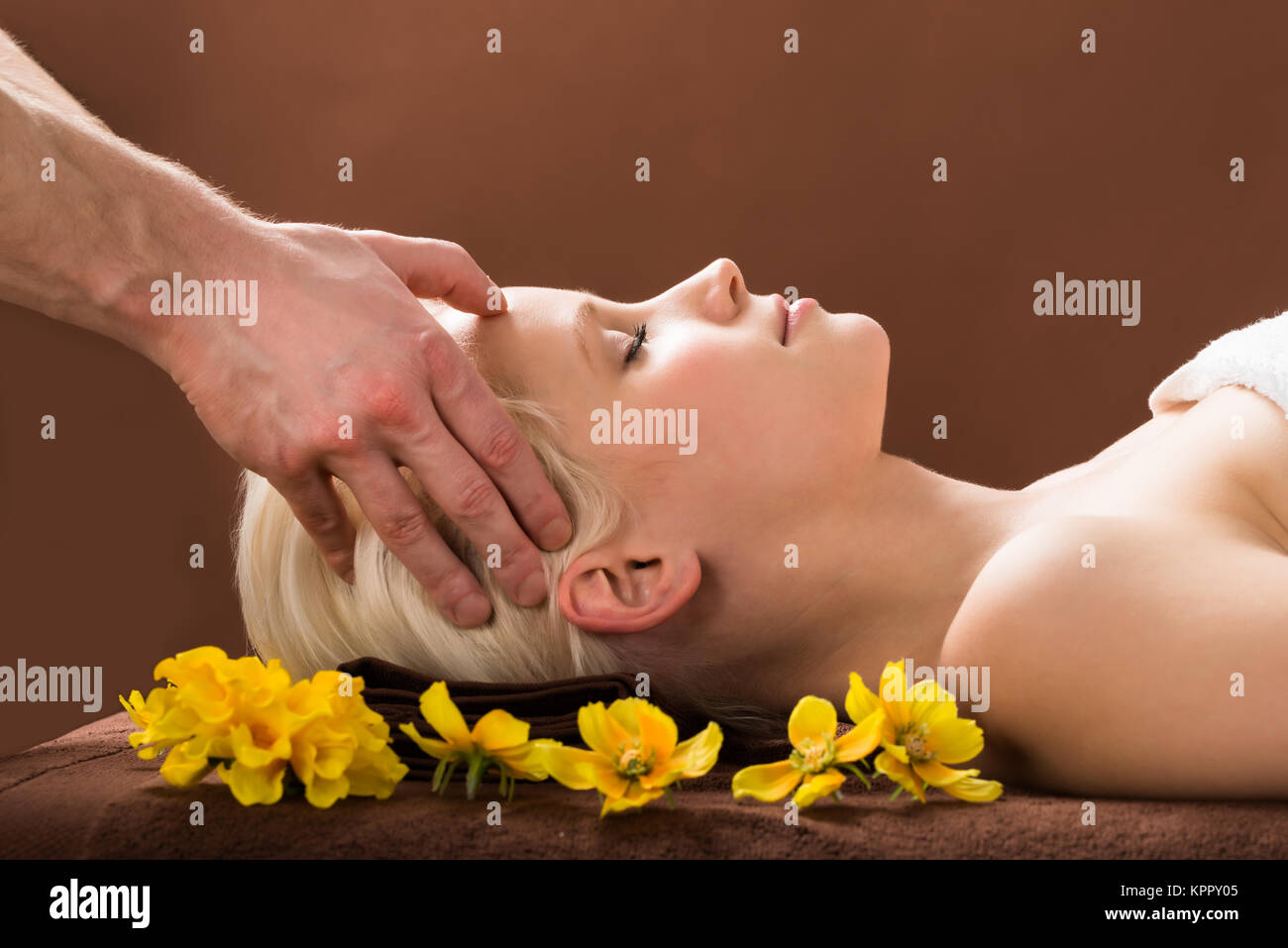 Young Woman Receiving Massage At Spa - Stock Image
