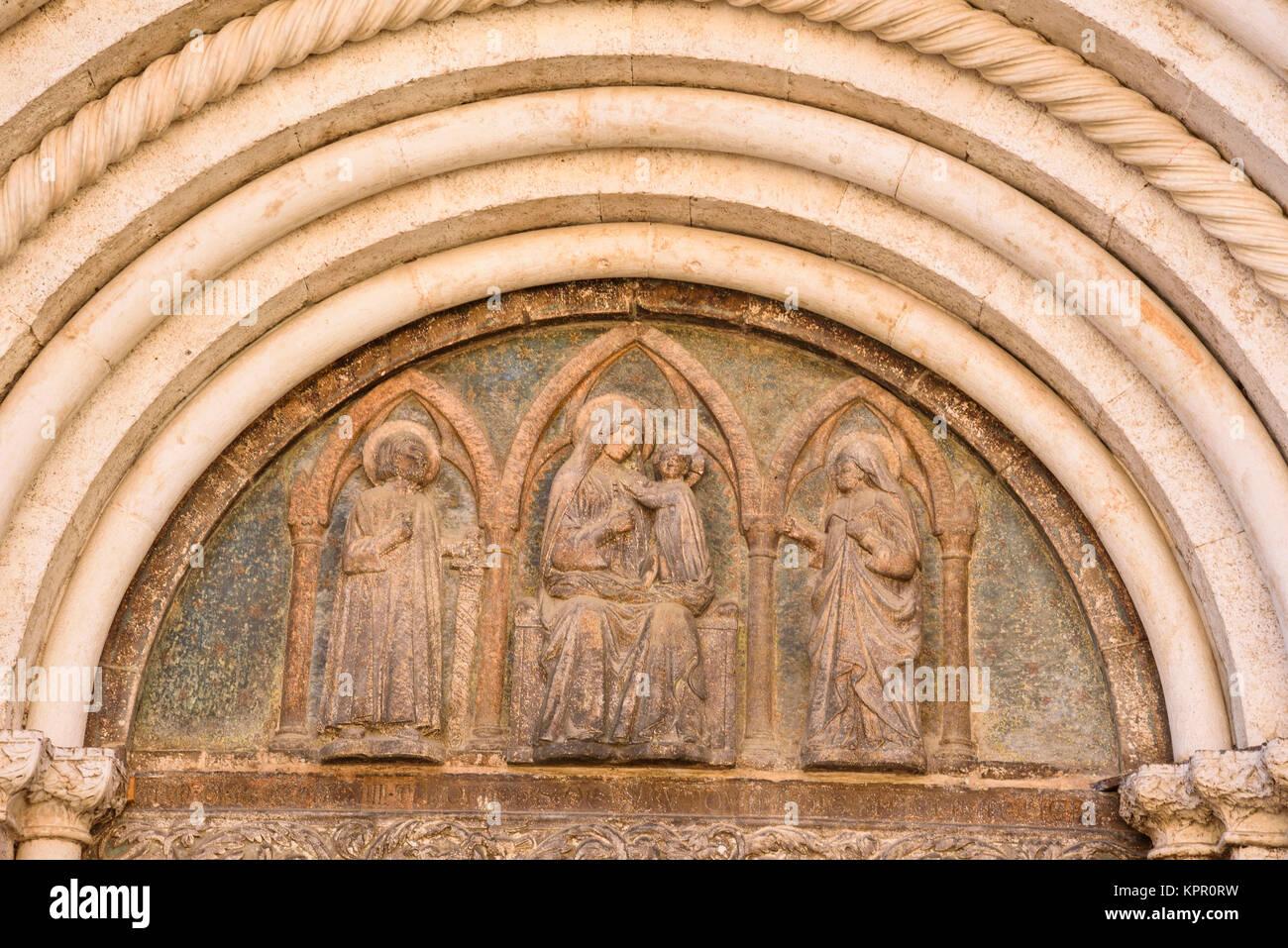 Church doorway, Old Town, Zadar, Croatia - Stock Image