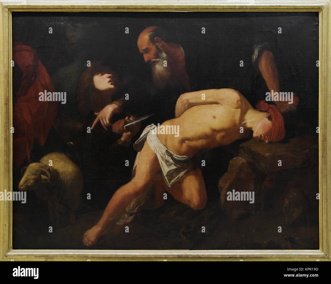 The Sacrifice of Isaac/El sacrificio de Isaac by Pedro Orrente (1580–1645) a Spanish painter of the Baroque period.17th - Stock Image