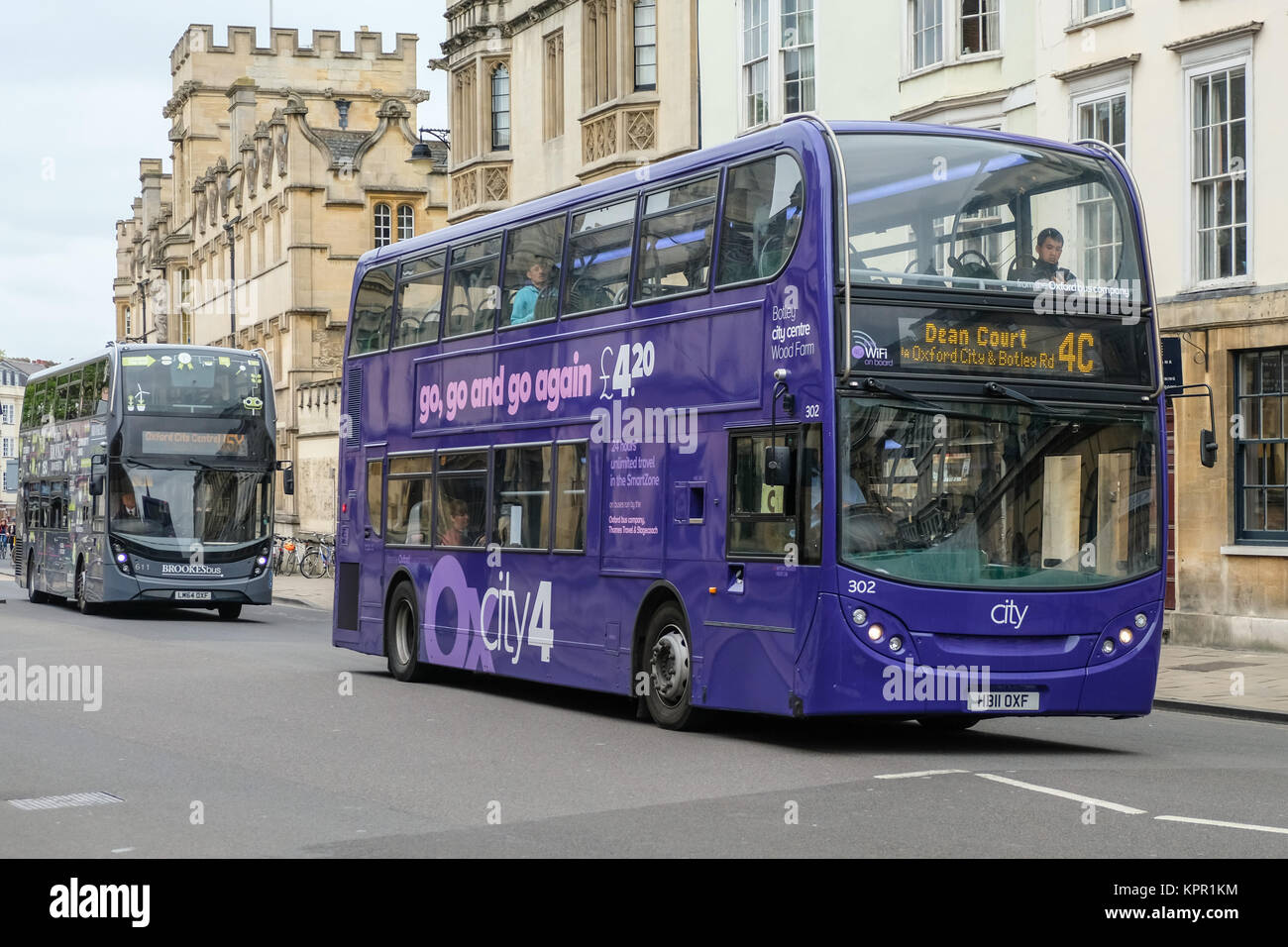 Double Decker Bus with Free 4G Wifi on the High Street Oxford, Oxfordshire, England - Stock Image