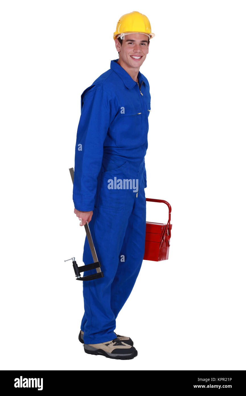 young craftsman posing - Stock Image