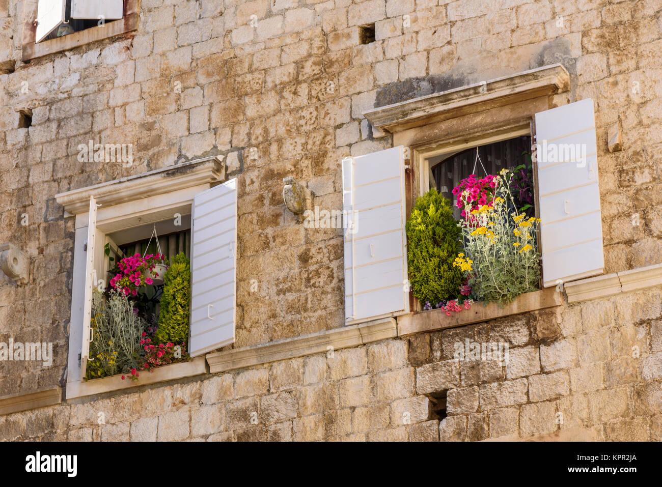 Window boxes, Trogir Old Town, Croatia - Stock Image