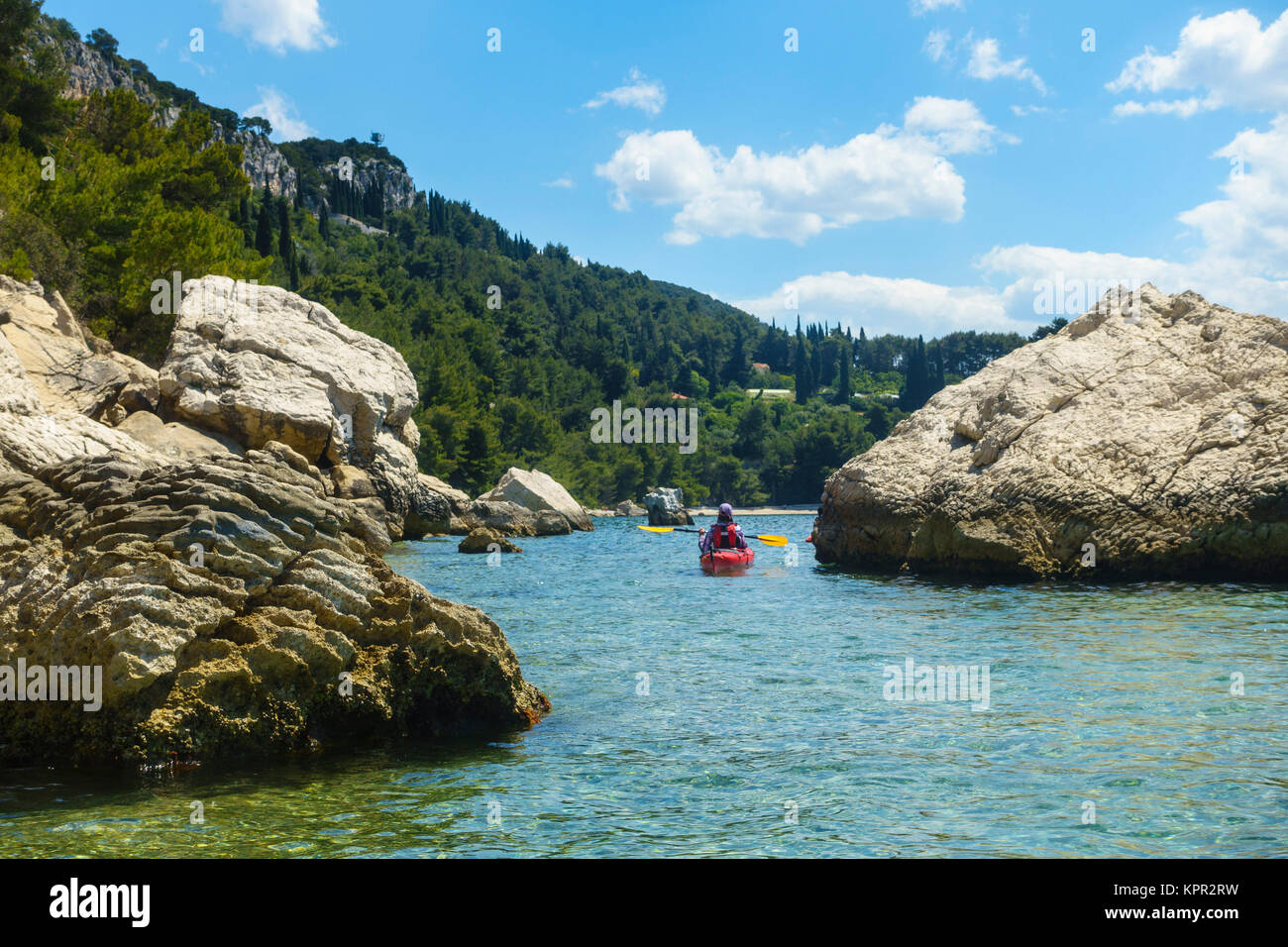 Sea kayaking near Split, Croatia - Stock Image